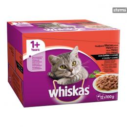 WHISKAS POUCH MEAT SELECTION AND VEGETABLES 12x100g
